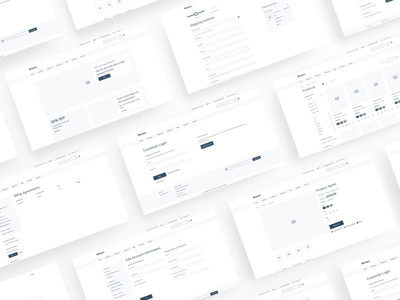 Wemer - Magento 2 Wireframe for Figma wireframe wf web ux ui template simple shop prototype magento kit figma eshop ecommerce clean