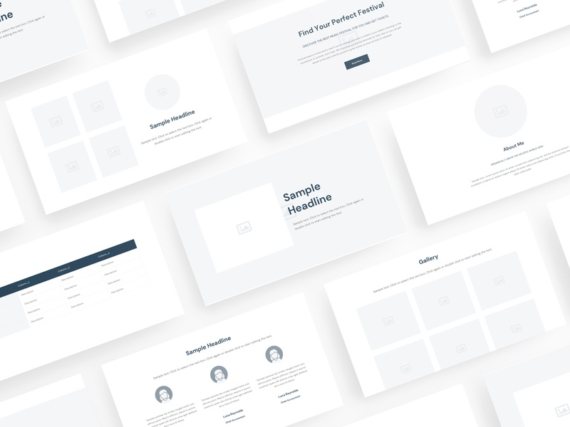Wili - Website Wireframe for Sketch wireframe wf web ux ui template site simple prototype layout kit components clean bootstrap blocks