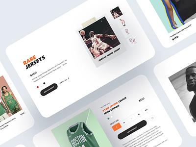 Nike x NBA — jerseys sale collaboration web design product ux design store nike nba minimal ecommerce design clean catalog cart basketball ui design web ux ui
