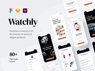 Watchly - Ecommerce UI Kit adobexd xd adobe sketch figma elegant modern luxury product watch uikit kit ui ecommerce store mobileapp mobile appdesign app design