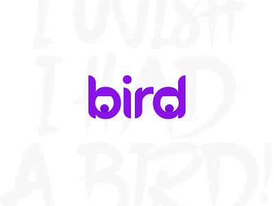BIRD fun purple birds logo design lettering logodesign logotype logos bird bird logo instagram post typography vector icon flat logo illustration minimal design