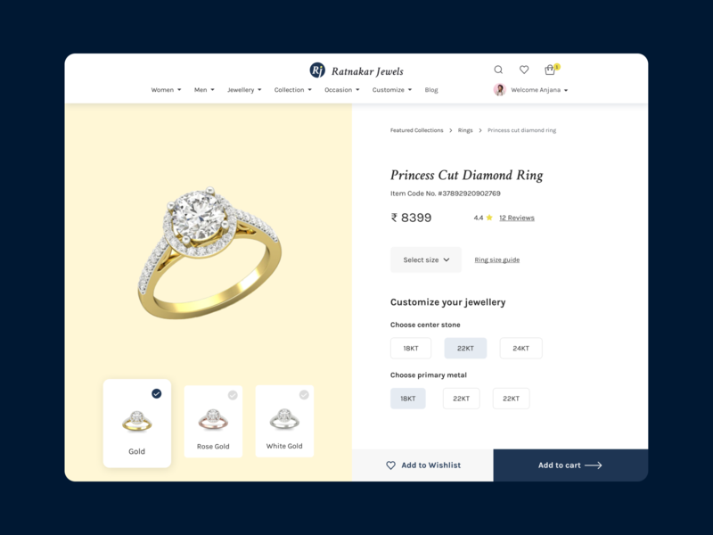 Jewellery Ecommerce Product Page dailyuichallenge minimal uidesign select flat dailyui cart ecommerce clean ui jewellery ui ux product page customize product clean