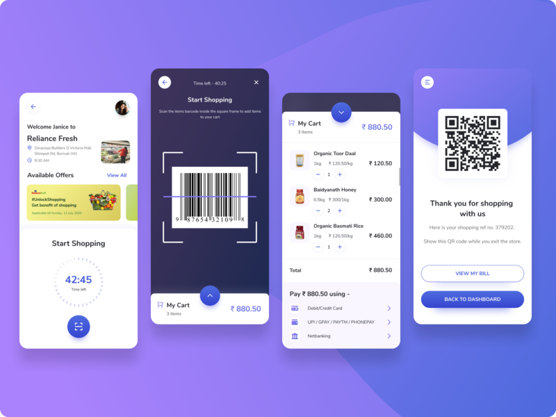 Self checkout smart shopping app shopping app creative ideas mobile app design social distancing easy shopping covid-19 uxdesign barcode scanner qr code dailyuichallenge app design illustrator dailyui illustration iconography flat uidesign design minimal ui
