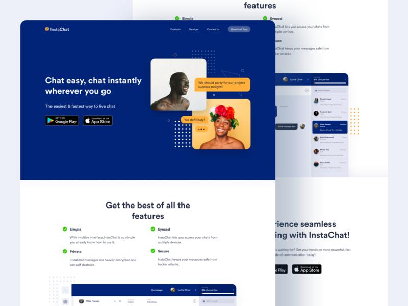 InstaChat - Messaging App Homepage app website mobile app homepage app homepage uxuidesign uitrends uxui uichallenge patterns dailyui uidesign minimal ui