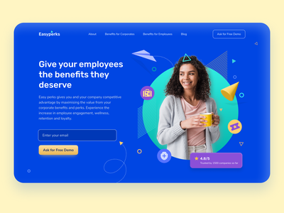 Easy Perks - Employee Benefits Platform perks landing page hero section 3dillustration flatdesign iconography benefits employee employee engagement uxdesign uiux dailyuichallenge uichallenge website illustration 3d dailyui uidesign minimal ui