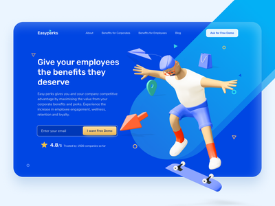 Easy Perks - Employee Benefits Platform employee uiux patterns iconography demo ratings 3dillustration illustrations uxdesign homepage perks benefits employee engagement landing page ui hero section dailyui uidesign minimal ui