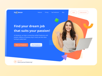 Starlancer - Freelancer platform hero section landing page homepage freelance designer uiux patterns uxdesign gradient shapes projects job freelancer uichallenge dailyui uidesign minimal ui