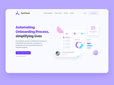 Auto Cloud - Automating Onboarding Process automation employees onboarding cloud uiux gradients shapes rounded corners ui design landing page hero banner dailyuichallenge soft ui illustration dailyui uidesign minimal saas ux ui