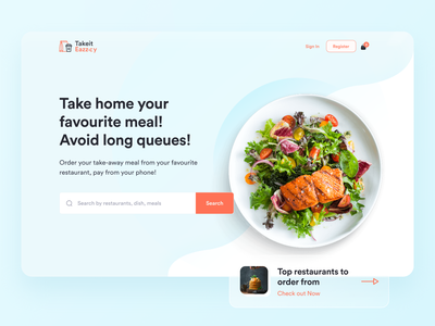 Take-away food payment platform order food uiux uichallenge search bar soft colors dailyuichallenge order online takeout restaurant website food and drink glassmorphism takeaway food dailyui uidesign minimal ui