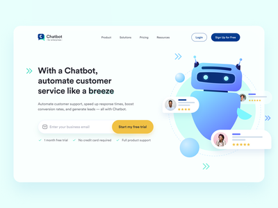 Chatbot - for enterprises pastel modern design chat bot uxresearch ui design hero section landingpage homepage uichallenge dailyuichallenge soft colors iconography dailyui uidesign minimal artificial intelligence ai chatbot uiux ui