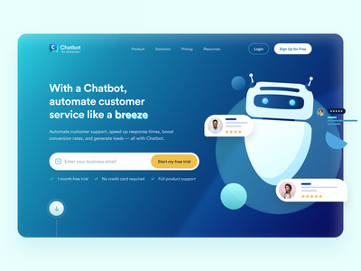 Chatbot - for enterprises - Dark theme technology logodesign chat uxdesign dark theme customer service artificial intelligence chatbot homepage hero section landing page website dailyuichallenge uichallenge illustration iconography dailyui uidesign minimal ui
