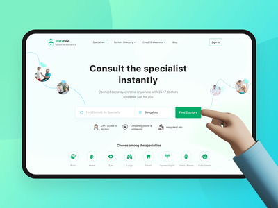 InstaDoc - Online doctor Consultation app ui doctors visual design ui design search bar healthcare landing page ui book appointment consultation doctor hero section website iconography uidesign dailyui uiux uichallenge dailyuichallenge minimal ui