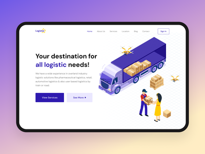 Logistar - Logistics platform uxdesign website uiux flat illustration website design hero section landingpage logistics dailyui uidesign minimal ui