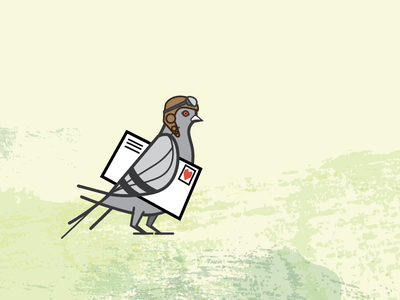 Sharing is Caring brand logo envelope mail bird carrier pidgeon