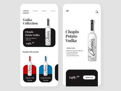 Vodka App Ui ecommerce app cart liquor wine bottle font playfair display blue red black  white black alchohol clean flat minimalist simple uidesign app vodka
