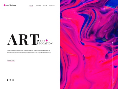 Abstract Modern Art Landing Page typography blue red black pink colors onepage uidesign dailyui lp simple gradient color aesthetic minimalist landingpage art modern art abstract design