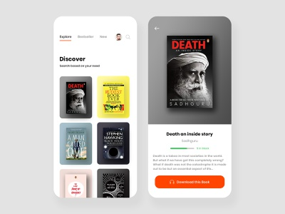 Audible Books App Concept audiobook gradients bookstore ecommerce bookshop book library bookshelf orange white simple clean interface simple minimalist aesthetic design concept download app audible e-book