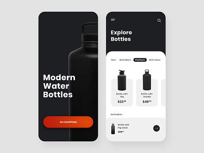 Water Bottle Shopping App Design bottle app design app interface app ui gradient orange bottle white black white black black and white simple and clean simple app app design ecommerce app shopping app