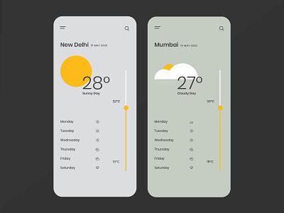 Weather Today App Concept phone app dark app app design weather app ui ux ios app android app grey best app design weather app