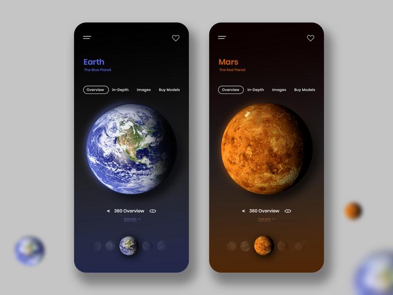 Universe Exploration App Concept ios app design mobile app design ui ux design solar system universe
