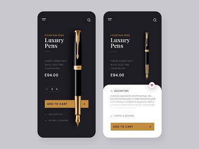 Luxury Pens E-commerce Store Concept price app cart ui clean ui ui ux aesthetic minimal mobile app mobile ui simple ui best app design ecommerce app app ui ux app design