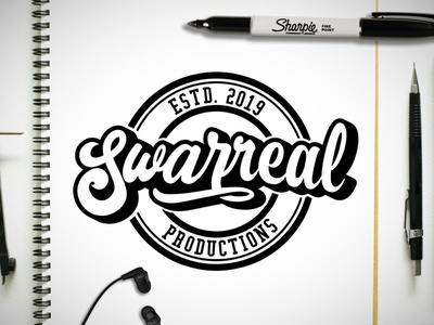 Swarreal Productions Logo sketch logo bold cursive logo surreal logo swarreal logo graffitti graffiti logo baseball script logo bold script logo cursive logo typography logo minimal logo design vector logo modern logo branding concept branding and identity illustration branding design branding