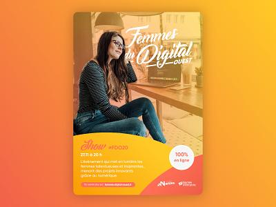 Femmes du digital - Graphic concept vector branding illustration affinity illustrator print modern affiche poster photoshop design logo