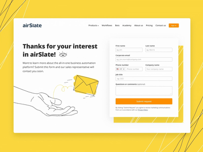 Contact us landing page website web ui vector texture hand form page envelope illustration mail eye yellow form contact page