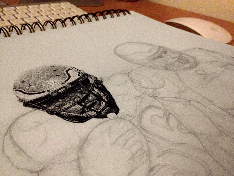 Staccato Portrait WIP drawing pen staccato portrait football philadelphia eagles brian westbrook