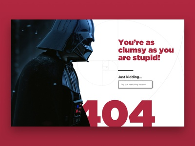 Daily UI #8 - 404 Page golden ratio darth darth vader starwars 404 dailyuichallenge dailyui