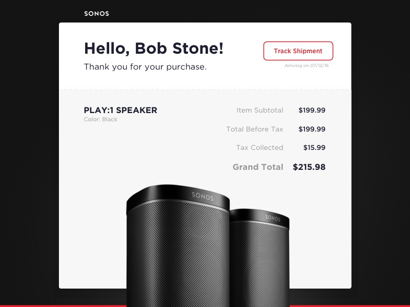 Daily UI #17 - Email Receipt minimal sonos ecommerce email dailyuichallenge dailyui