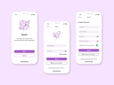 Space Application in mockup iPhone 11 minimal illustration ux ui design app