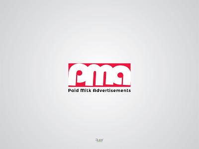 Logo - PMA (Paid Milk Advertisements) creative logo rayphotostration vector trendy design pma logo advertisement logo icon design icon symbol minimal logo wordmark logo logo icon mark logo logo mark brand identity design brand logo branding brand logo