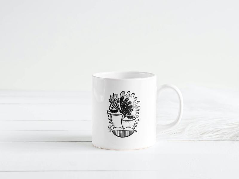 Hand Illustration on a Coffee Cup blackandwhite white space white artist artwork art hippie trippy tea cup cup coffee cup black and white black  white photoshop hand drawn handmade hand illustration hand illustrated illustration art illustrations