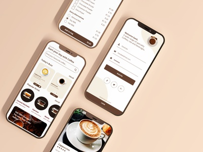 A Branded Mobile App For A Coffee Shop graphic designer graphic design ui designer designing designer ui ux ux ui app designing branding and identity brand design coffee shop app coffee shop branding mobile app design mobile app app design app