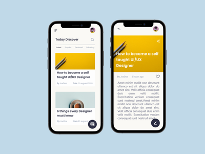 Blog app concept mobile ui mobile app ux ui uiux design