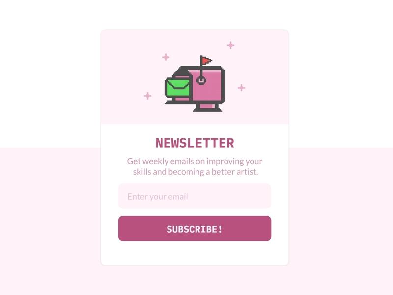 Newsletter Modal Design uidesign pixel art web design modal window modal design newsletter graphics newsletter design ui design ui