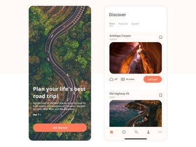 Travel App - Concept UI ux mobile ui uiux ios mobile app road trip roadtrip travel app travel ui design app uidesign ui design
