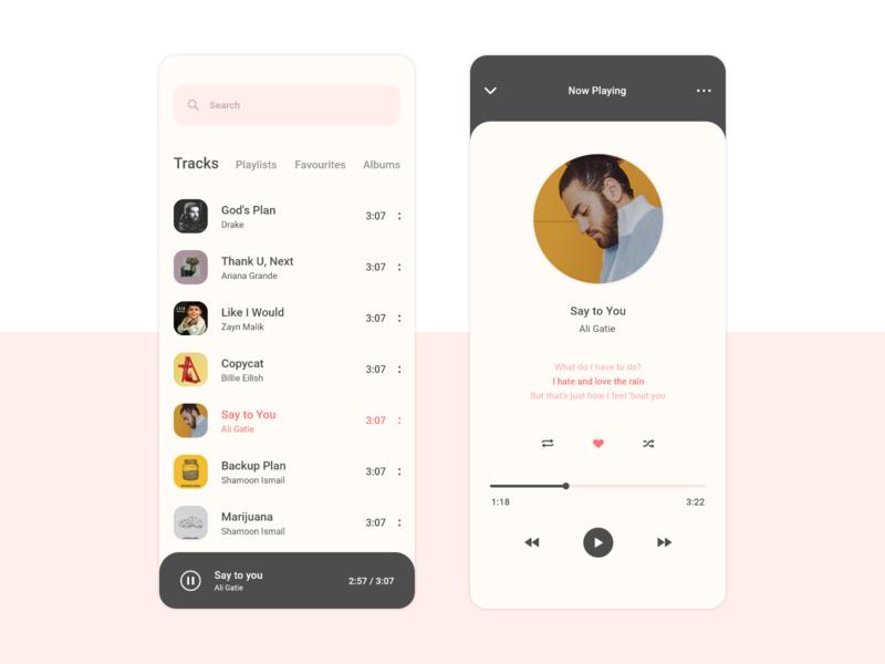 Music Player App - Concept UI ui  ux uiux clean design clean ui music app ui music music player music app