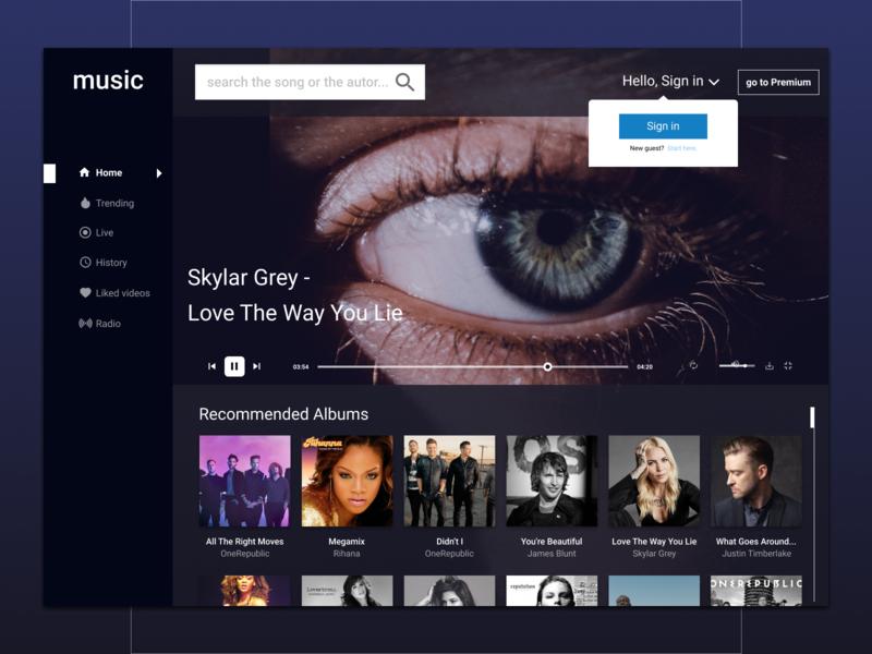 Music desktop desktop branding ui ui  ux web design