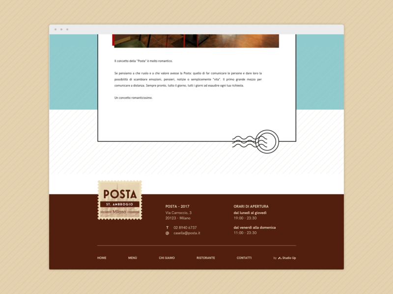 Footer for a postal-themed restaurant website postal service footer restaurant web design
