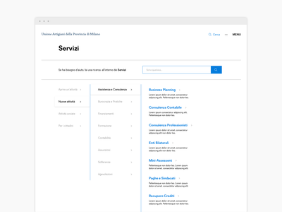Services category tree for association website minimal filters ux category page website