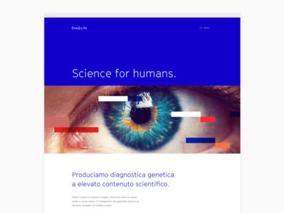 Home page for scientific website pharmaceutical diagnostics health science mobile web design