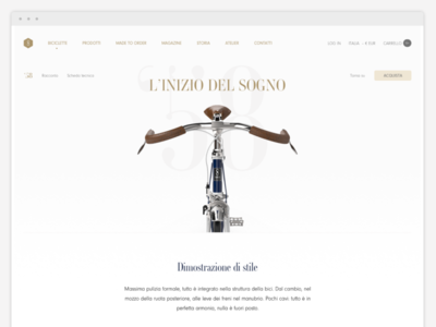 Product page for cycling ecommerce website bicycle web design ecommerce