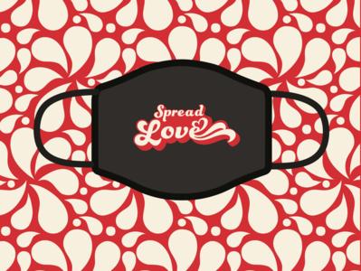 spread love face mask retro red
