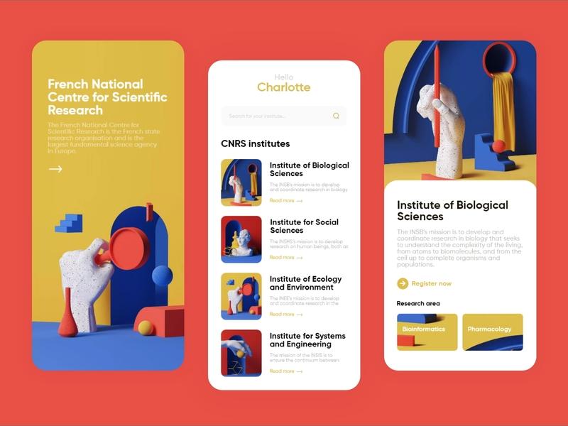 CNRS - IOS Application applications institute flat illustration flat illustration ux design ui design ui mobile app design mobile app mobile ui app design app
