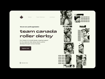 Canada Roller Derby Home Page ui design ui animation design landing page aesthetic motion typography home page retro canada