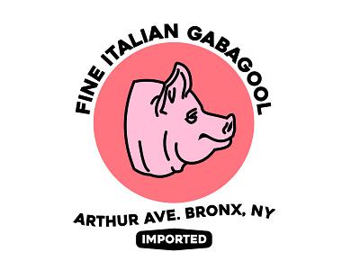 The Finest Gabagool foodlogo badgedesign logodesign illustrator badge nyc newyork bronx animal pig logo italian gabagool