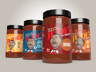 Jude's BBQ sauce labels branding illustration packaging