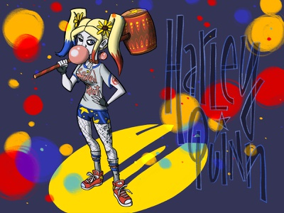 Harley Quinn Spotlight procreate illustration